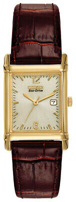Citizen Eco-Drive Men's BW0072-07P Gold-Tone Brown Leather Strap 25mm Watch