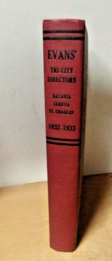 VTG CITY DIRECTORY BOOK TRI CITY EVANS BATAVIA GENEVA ST CHARLES NEW YORK 1932 - $9.99