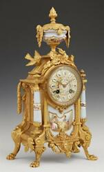 French Sevres Style Porcelain and Gilt Spelter Mantle Clock, late 19t... Lot 350