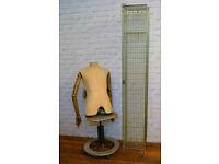 Galvanised wire metal caged double locker vintage industrial antique storage cabinet bedroom kitchen