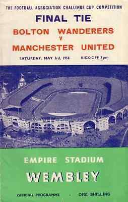 * 1958 FA CUP FINAL - MANCHESTER UNITED v BOLTON *