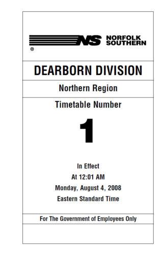 Norfolk Southern Dearborn Division Employee Timetable #1 AUG 2008 ETT REPRINT