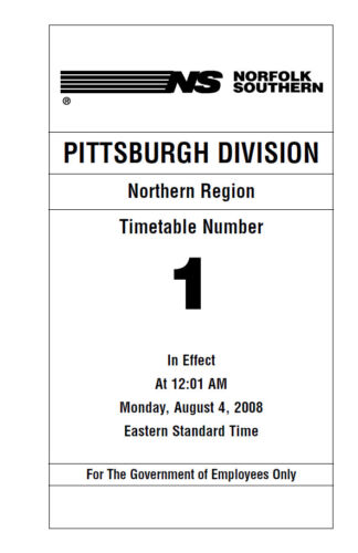 Norfolk Southern Pittsburgh Division Employee Timetable #1 AUG 2008 REPRINT