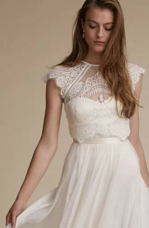 NWT $220 BHLDN Catherine Deane Bridal Itala Bridal Lace Wedding Dress Topper XS