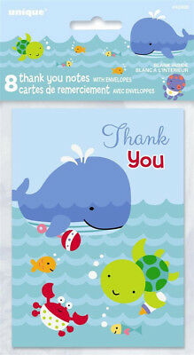 Nautical Baby Shower Supplies (BABY SHOWER Under the Sea Pals THANK YOU NOTES (8) ~ Party Supplies)