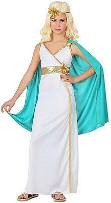 Kostüm Mädchen Göttin Römische Griechische Toga und Umhang 3/4 Jahre Neu Kind