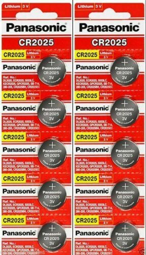 10 x Fresh PANASONIC CR 2025 CR2025 ECR2025 LITHIUM COIN CELL Battery Exp 2030