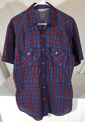 Vintage 80's Open Trails Plaid Short Sleeve Western Shirt Men's L Pearl Snaps