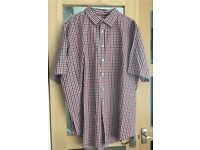 Men's 2xl short Sleeved Checked shirt Navy White Red