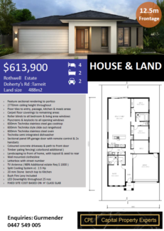 OFF PLAN. 4br, 2 bath, double garage 20sq house + 488 sqm land