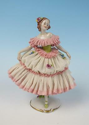 """Vintage Volkstedt 7"""" Ballerina Dancer Figure Porcelain Dresden LACE Figurine"""