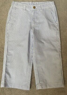 (Wes And Willy Clam Diggers Seersucker Pants Boys Size SM~8-10 Cotton EUC)
