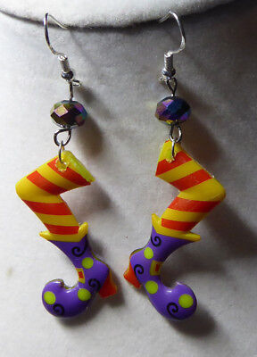 WITCH Purple Boot Shoes SCARY 925 EARRINGS Bling Bead HALLOWEEN Nora's USA - Scary Halloween Shoes