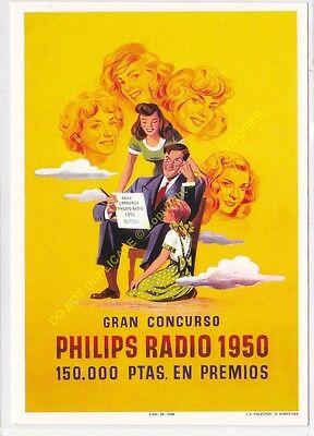 Reproducción Antigua Publicidad Concurso Philips Radio 1950 segunda mano  Embacar hacia Argentina