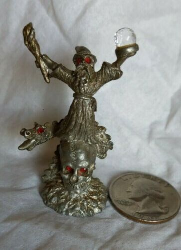 """Vint SPOONTIQUES 2"""" Pewter WIZARD Fig w SKULL Ruby & Crystal Ball accent~HMR918"""