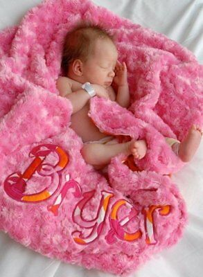Personalized Baby Girl Blanket, Flamingo Dot, Sorbet Pink Minky, Monogrammed](Personalized Baby Stuff)