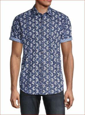 new Robert Graham men shirt short sleeves Alicante RPP202581CF navy M $178 image