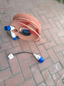 Main AC cable and 3 pin adapter for caravan