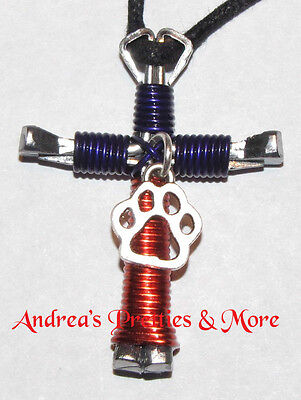 Disciple's Cross Horseshoe Nail Necklace Wire Wrapped Cross - CLEMSON TIGERS Paw](Horseshoe Nail Cross Necklace)