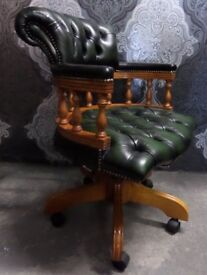 Stunning Chesterfield Captains Desk Chair in Green Leather - UK Delivery