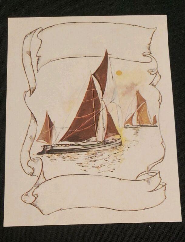 Vintage Antioch Bookplate, Sailboats