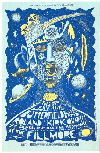 Paul Butterfield ROLLAND KIRK 1967 Filllmore Postcard BG 72