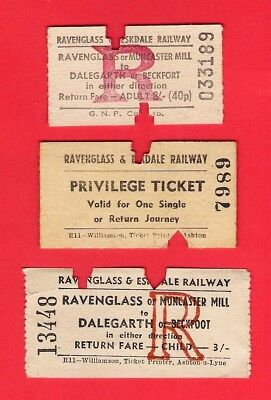 3 Tickets ~ Ravenglass & Eskdale Railway - La'al Ratty: Dalegarth - 1960s/70s