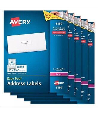 5-pack Avery 5160 Easy Peel Address Labels For Laser 1x 2-58 White 3000pack