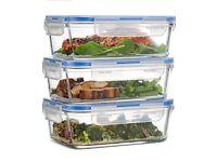 Lunch Dinner Sandwich Glass Boxes 3pcs