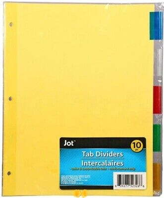 Jot Tab Dividers Binder Page Index Dividers 10 Ct. Insertable Multicolor Tabs