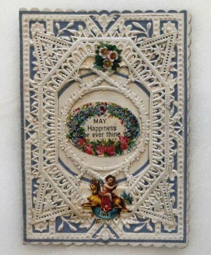 1880s CHERUB Victorian UNUSED Folding VALENTINE CARD Antique Paper Lace
