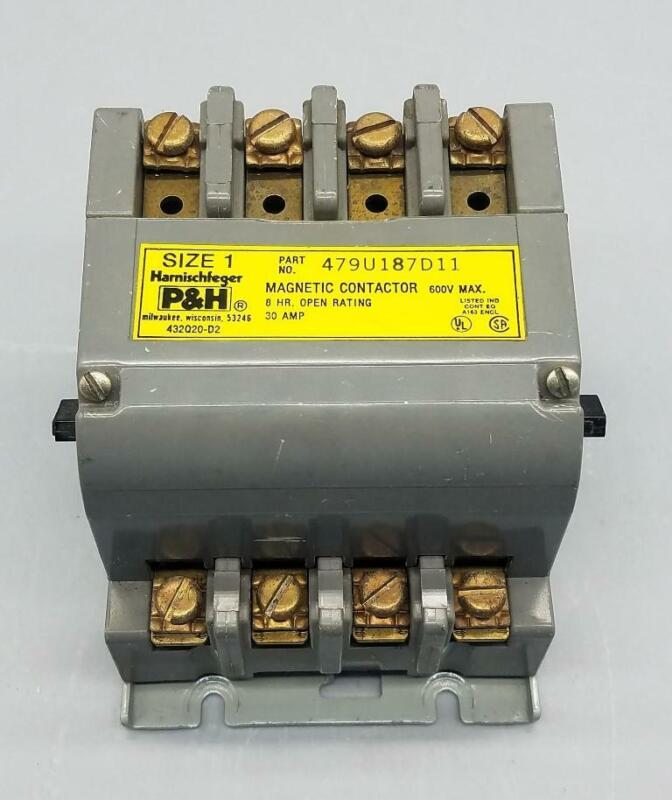 P&H HARNISCHFEGER 479U187D11 MAGNETIC CONTACTOR W/ DUAL VOLTAGE COIL 475Q1-D1