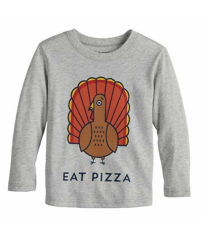 Toddler Boys Thanksgiving Turkey Eat Pizza Graphic T-Shirt Sizes 12M-5T NEW
