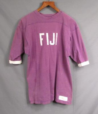Vintage 1960s Fiji Football Team Jersey Shirt Purple/White Russell Athletic #14 image