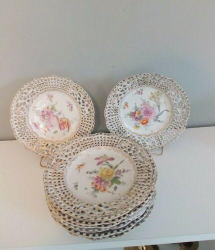 Rare Set of 8 Antique Carl Thieme Meissen Reticulated Plates. Ex. Cond.