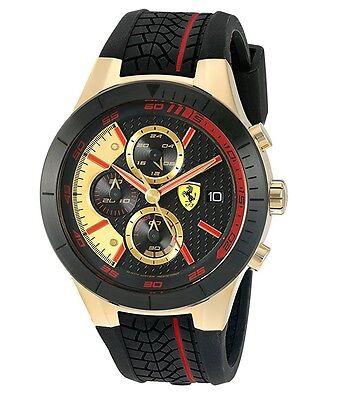 New Scuderia Ferrari  Redrev Evo Analog Fashion Watch Black Gold Mens 0830298
