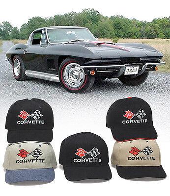 Chevrolet Corvette Cross Flags Hat - Chevy Bowtie 327 427 C1 C2 C3 Stingray