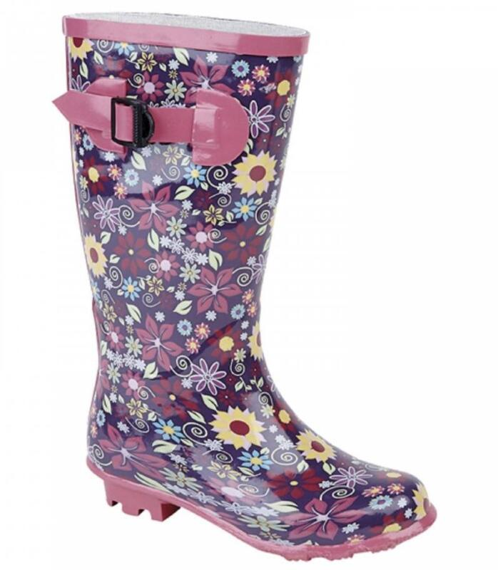 Stormwells PUDDLE Girls Infant Junior Floral Waterproof Wellington Boots Pink