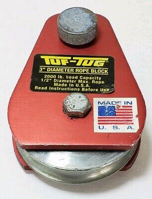 Tuf-tug 3 Diameter Rope Block 12 Diameter Max. Rope Made In Usa