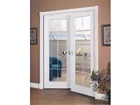 Chrome Bead Glaze Internal Double Doors