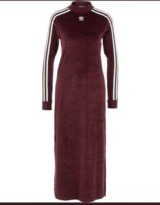 ADIDAS ORIGINAL Womens Maroon Velvet/Velour Trefoil Dress (Size UK 12) NWTS
