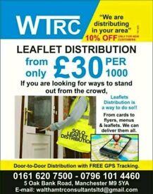 Leaflet Distributors - From only £30 per 1000 Leaflets.