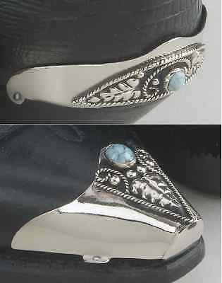 Set of Western Cowboy Boot Tip and Heel Guard - Silver Plated, Black & Turquoise
