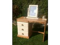 Solid pine dressing table and mirror.