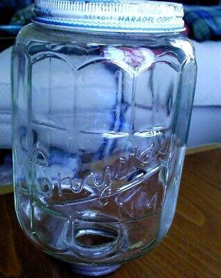 Antique Original Glass Jar Arcade Crystal No. 4 Coffee Grinder W/ Collar