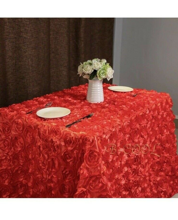 b cool red rosette florals satin square