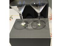 Waterford Crystal gold rimmed martini glasses