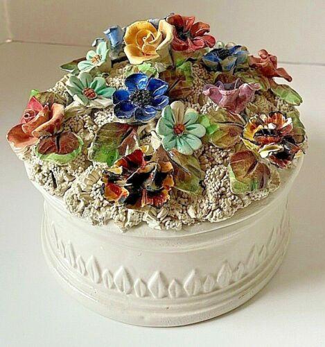 "Italian Capodimonte Floral Lidded Box Porcelain Possibly Antique 5.75"" Diameter"