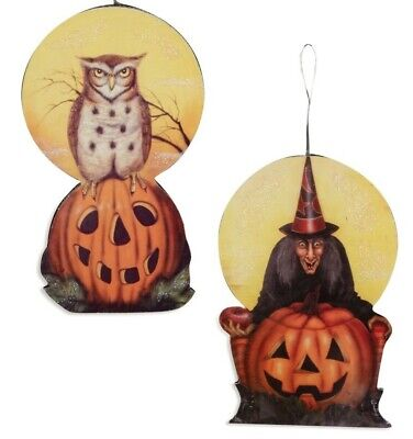 New Set Of 2 Bethany Lowe Moonlight Hall Halloween Ornaments Witch & Owl