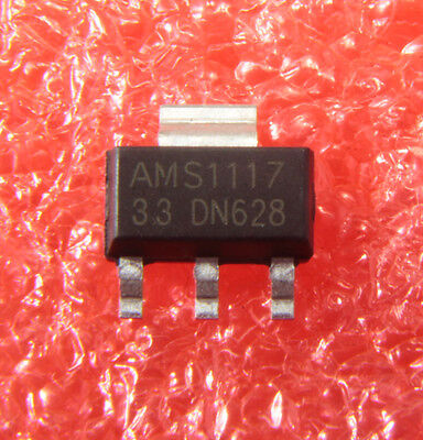 50pcs New Ams1117-3.3 Ams1117 Lm1117 3.3v 1a Sot-223 Voltage Regulator Ic